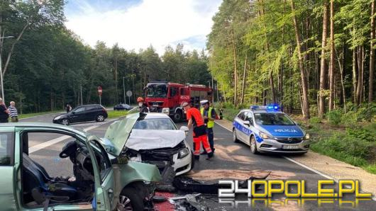 Zderzenie pojazdów na trasie Opole-Pokój. 3 osoby ranne