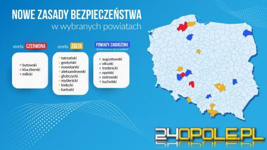 Powiat kluczborski w czerwonej strefie, głubczycki w żółtej...