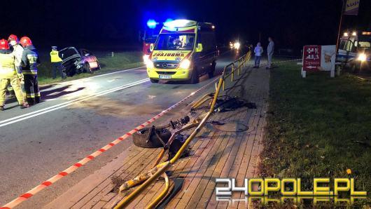 Folwark: Kierowca staranował barierki i wypadł z drogi