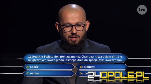 """W """"Milionerach"""" padło pytanie za milion. Odpowiadał Dawid Michalewski z Opola"""