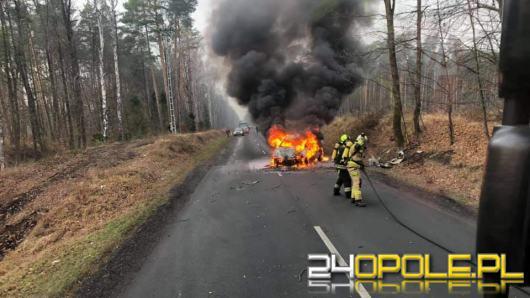 Kierowca uderzył w drzewo, a pojazd spłonął