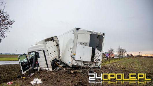 21-latek jechał ciężarówką z dzieckiem. Pojazd wylądował w rowie
