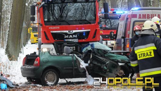 Wypadek na drodze Turawa-Marszałki. Samochód uderzył w drzewo