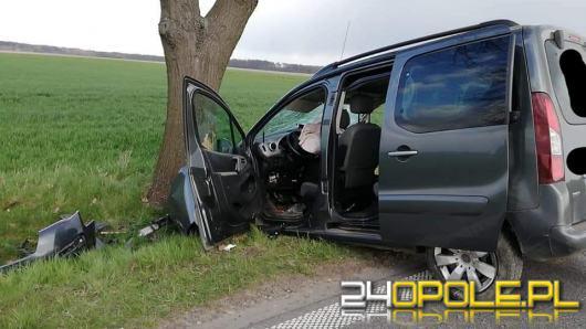 Kierowca citroena uderzył w drzewo. 3 osoby trafiły do szpitala