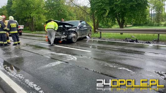 Czołowe zderzenie osobówek na trasie Opole-Zawada. Dwoje dzieci trafiło do szpitala
