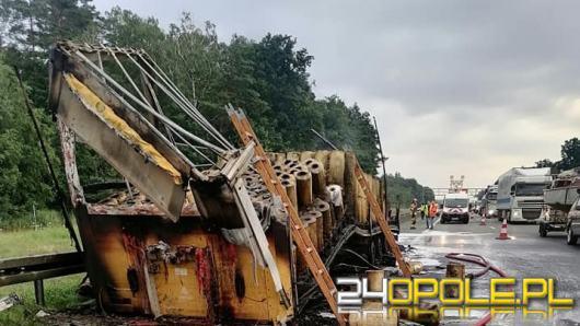 Ciężarówka z folią spłonęła i zablokowała nitkę na A4