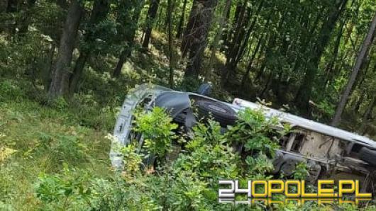 Samochód dostawczy wypadł z jezdni
