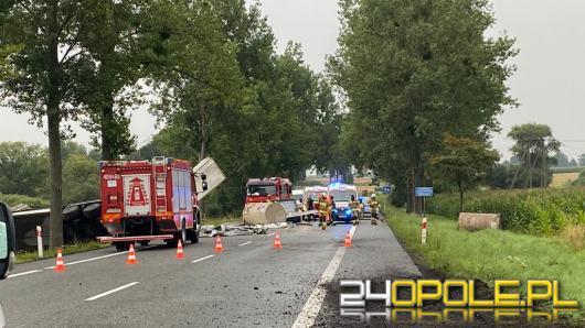 Tir wywrócił się na DK 39. Ranne dziecko i kierowca