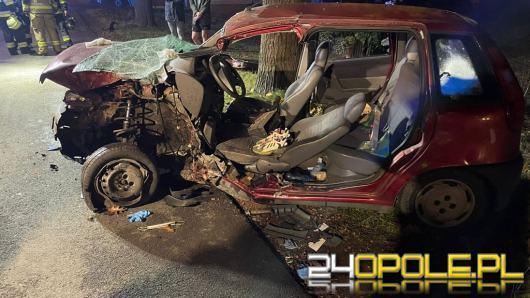 Kierujący punto uderzył w drzewo. Wypadek w gminie Wołczyn