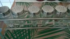 komplet solniczek szklanych